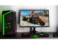 Gaming Computer PC Intel Quad Core 12GB Ram GTX 1050ti Windows 10 Home Green LED lights