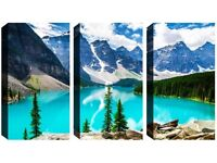 3 Panel Canvas -Paradise Mountain Views - Reduced from £70.00 to clear BRAND NEW