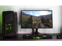 Gaming Computer PC Intel Quad Core ASUS Strix GTX 1050 Windows 10 Home Green lights