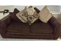 £150 2&3 Seater Brown Leather/Fabric Sofas. 12 Months Old . Excellent Condition . Buyer to Collect