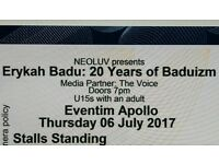 Erykah Badu, 2 Tickets / 6th July @ Apollo / Sold Out