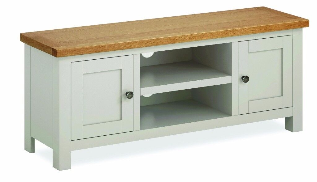 New grey & solid oak large TV unit fully built, In Stock Now