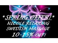 >>> SPRING OFFER! NICOLE RELAXING SWEDISH MASSAGE IN THE CENTRE <<<