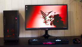 New Gaming Desktop PC Intel Quad Core Red Quiet LED Fan Nvidia GTX Graphics Windows 10