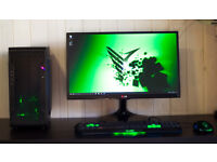 New Gaming Desktop PC Intel Quad Core Green Quiet LED Fan Nvidia GTX Graphics Windows 10