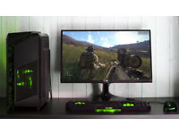 Custom Camo Gaming Computer Intel Quad Core 12GB Ram GTX 1050ti Windows 10 Home Green LED lights