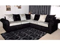UK EXPRESS DELIVERY | GLP CRUSHED VELVET BLACK/SILVER CORNER OR 3+2 SEATER SOFA | SWIVEL CHAIR