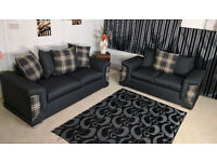 EXPRESS DELIVERY ALL UK | BRAND NEW DINO 3+2 SEATER SOFA CANE FABRIC | SPRING BASE | 1 YEAR WARRANTY