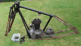 BSA 1930 frame, engine, gearbox and girder forks - project - barn find - pallet delivery