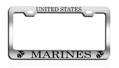 United States MARINES License plate frame tag Metal CHROME