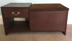 Retro / Vintage Mahogany Effect Telephone Unit, Dralon Seat, Shelf, Single DrawerStorage Compartment