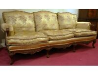 REPRODUCTION QUEEN ANNE 3 SEATER SOFA WITH 2 MATCHING ARM CHAIRS