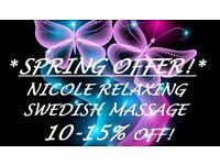 ***SPRING OFFER 10-15% OFF*NICOLE RELAXING SWEDISH MASSAGE IN THE CENTRE ***