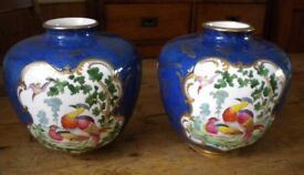 Beautiful pair of blue & white New Chelsea vases, colourful birds and gold butterflies