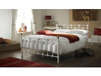 Oxford Double 4ft 6inch WHITE Metal Bed ** FRAME ONLY **