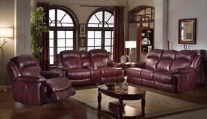 2 PC TOP GRAIN GENUINE LEATHER POWER RECLINER SOFA SET $ 3198