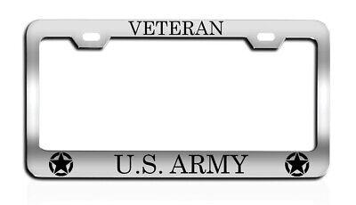 VETERAN U.S. ARMY army military License plate frame tag Metal CHROME