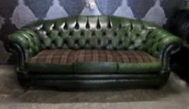 Stunning Chesterfield Thomas Lloyd 3 Seater Hump Back Sofa Green Leather Tartan - UK Delivery