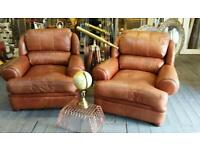 Stunning pair of tan italian leather cigar / club chairs !! Bargain !!!