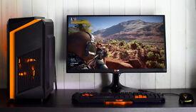 Black Orange Custom Gaming PC Intel Xeon 3.2GHZ Quad Core 8 Threads!GTX 1050ti Strix 12GB Ram