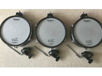 """Three Roland PD105 10"""" dual trigger pads c/w mounts and TD20 clamps for sale  Brentry, Bristol"""