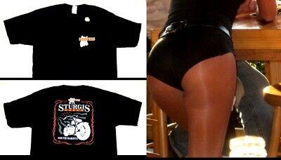 L Hooters Uniform Crop Top T-Shirt Biker Dolfin Logo Shorts hosiery name tag