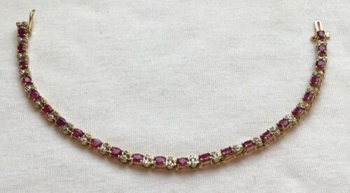 """Vintage Ruby And Diamond Tennis Bracelet In 14k Yellow Gold Over Silver 7.25"""""""