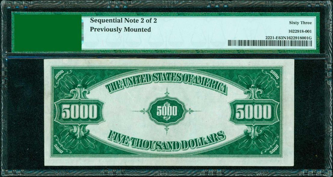 (2) CONSECUTIVE FR. 2221-E 1934 $5,000 FEDERAL RESERVE NOTES PMG AU-55 & UNC-63