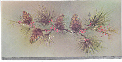 Vintage Artistic Pine Tree rendering with a touch of glitter Christmas Card.