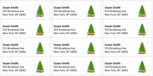 "300 -Custom Printed Christmas Large Return Address Labels 1"" x 2-5/8"""