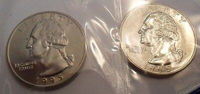 Washington Set - 1995 P & D Washington Quarter Coin Set (2 Coins) *MINT CELLO*  **FREE SHIPPING**
