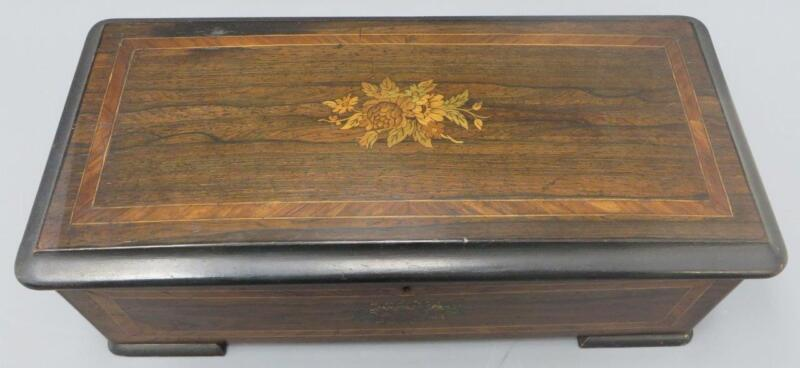 Antique 1840-1860 Swiss German Cylinder Lever Music Box Inlaid Wood Zither Ruby
