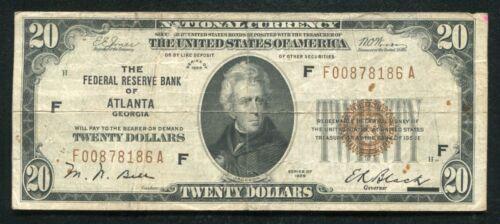 FR. 1870-F 1929 $20 FRBN FEDERAL RESERVE BANK NOTE ATLANTA, GA