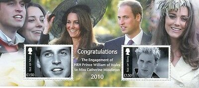 Isle of Man Prince William & C.Middleton ENGAGEMENT Min sheet mnh 2010