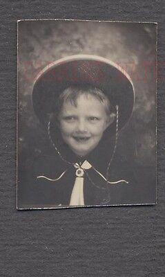 Vintage Photo Cute Boy in Cowboy Hat in Photobooth 691098