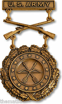 ARMY EXCELLENCE IN COMPETITION BRONZE RIFLE  USA MADE MILITARY BADGE