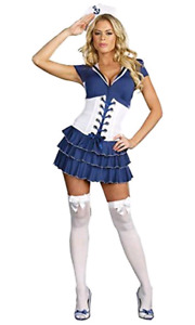 NEW Women Lady Sailor Blue White Halloween Costume Dress Corset