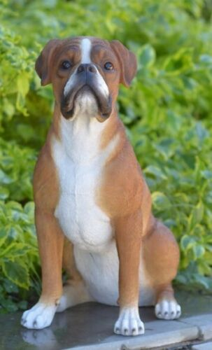 Boxer Dog Sitting Large Adorable - Life Like Figurine Statue Home / Garden NEW