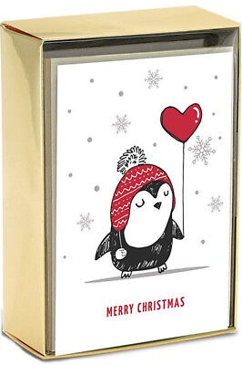 Penguin with Red Heart Balloon Petite Box of 15 Christmas Cards