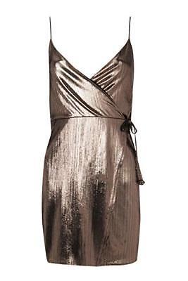 Boohoo Jen Metallic Strappy Wrap Slip Dress Bronze UK 10 LF087 FF 21