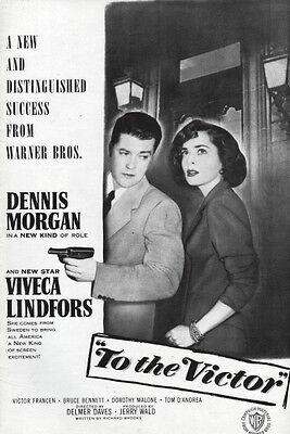 TO THE VICTOR pressbook,  Viveca Lindfors, Dorothy Malone --PLUS 3 SHEET POSTER-