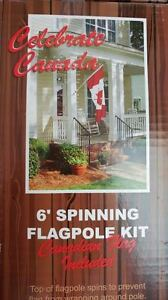 SPINNING FLAGPOLE KIT,  INCLUDES CANADA FLAG