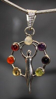 Chakra Göttinen Anhänger 7 Edelsteine 4 cm Energie Göttin