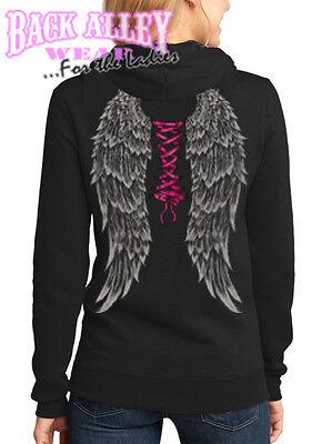 Ladies ANGEL WINGS w/ SEXY PINK CORSET Hooded Sweat Shirt Hoodie Ribbon Womens Angel Wings Hooded Sweatshirt