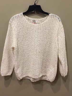 Ivory Knit Sweater Womens FIA Italia Hand Loomed Size Medium - NWT