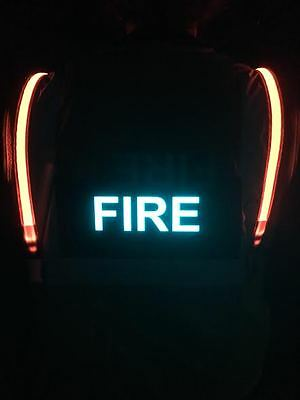 ANSI 2 Illuminated LED Safety Vest Fire Department Volunteer ID Panel Lime Green