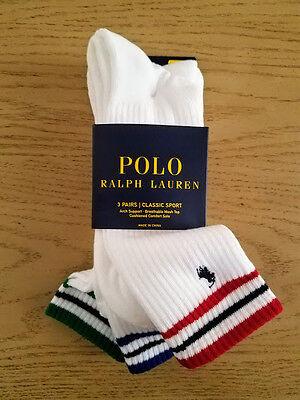 Polo Ralph Lauren Mens 3 Pack Striped Crew White Socks 10-13 Athletic