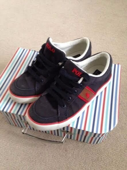 Boys Navy Ralph Lauren Polo Deck Pumps UK 2 1/2 Hardly Worn - Excellent condition.