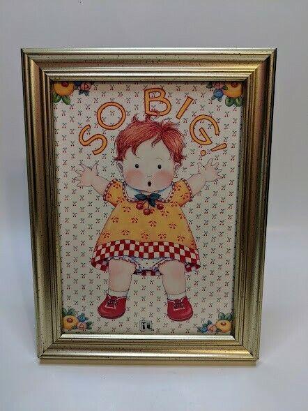 """Mary Engelbreit Red Haired Little Girl SO BIG Framed Art Print 5"""" x 7"""""""