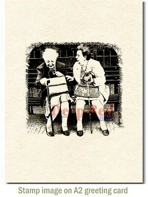 Deep Red Stamps Old Friends Rubber Cling Stamp